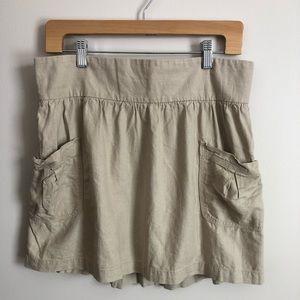 Khaki Linen Skirt